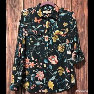 LOFT Floral Button Up Blouse Convertible Sleeve
